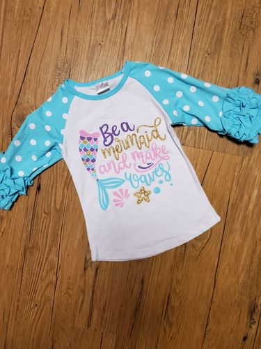 Mermaid shirt with flutter sleeves