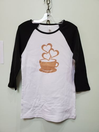 Coffee design on raglan shirt